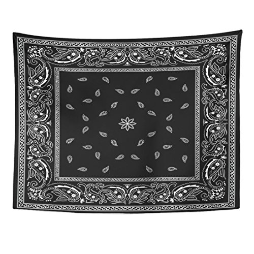Emvency Tapestry Colorful Paisley Black Bandana Pattern Bandanna Border Scarf White Home Decor Wall Hanging for Living Room Bedroom Dorm 60x80 - Tapestry Black Silk