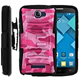 Alcatel POP ICON Case, Alcatel POP ICON Holster, Two Layer Hybrid Armor Hard Cover with Built in Kickstand for Alcatel One Touch Fierce 2 7040T, Alcatel POP ICON A564C (T Mobile, Metro PCS, Straight Talk) from MINITURTLE | Includes Screen Protector - Pink Camouflage