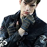 Fioretto 10% OFF Gifts 2018 Mens Fingerless Gloves Italian Genuine Goatskin Leather Half Finger Men Driving Leather Gloves Unlined with Rivets Punk Rock Style Black Green 10