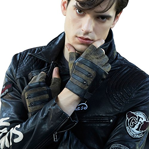 Fioretto Mens Fingerless Gloves Italian Genuine Goat Nappa Leather Half Finger Men Driving Leather Gloves Unlined with Rivets Punk Rock Style Black Green 9.5