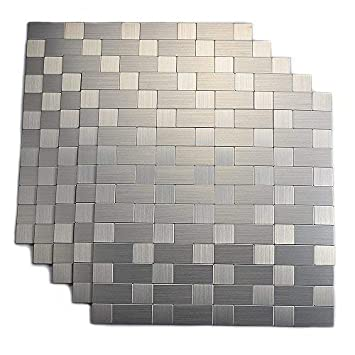 Stupendous Yipscazo Peel And Stick Tile Backsplash Stainless Steel Stick On Tile For Kitchen Wall Beutiful Home Inspiration Truamahrainfo