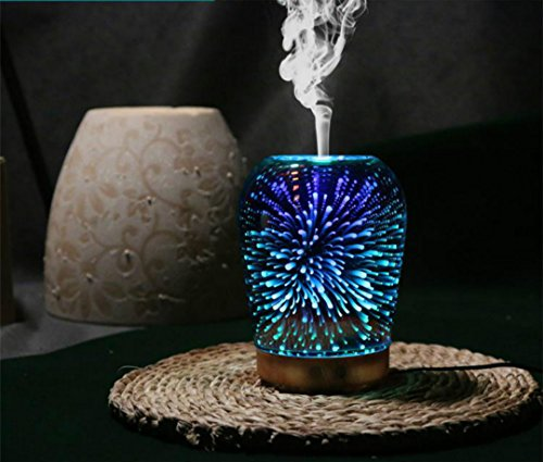 3D Essential Oil Diffuser 100Ml Aromatherapy Ultrasonic Cool Mist Humidifier With 3D Design Glass Star Effect Pattern Essential Oil And Wax Tarts 2In1 Combo Function Aroma Decorative Lamp For Office