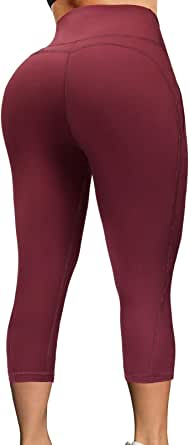 TQD High Waist Yoga Pants, Pocket Yoga Pants Tummy Control Workout Running 4 Way Stretch Yoga Leggings for Women