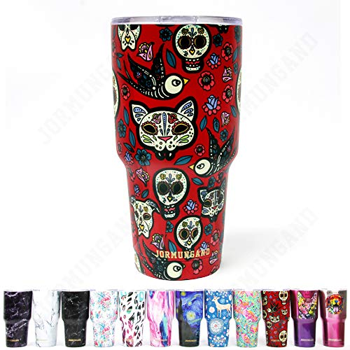 Jormungand Tumbler 30oz Stainless Steel Vacuum Insulated Travel Mug with Straw Friendly Lid Double Wall Coffee Cup Sugar Skull Red -