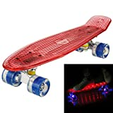 22″ Cruiser Crystal Clear Board with LED Light Up Retro Wheels Outdoor Complete Skateboard for Kids/ Boys/ Girls/ Adults/ Youths/ Beginners, Christmas Gift for Age 5 Up