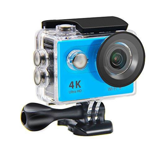 Action Camera NTSE Ultra HD 4K WiFi Sport Camera 1080P/60fps 2.0 LCD 170D Lens Helmet Cam Go Waterproof Pro Camera 30m Waterproof Cameras( Blue)
