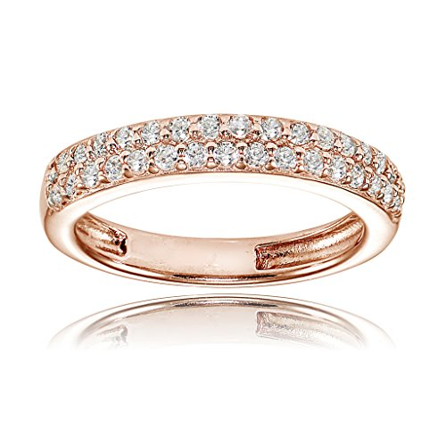 Rose Gold Flashed Sterling Silver Cubic Zirconia 2-row Round-cut Eternity Band Ring (Rose 2 Gold Row)