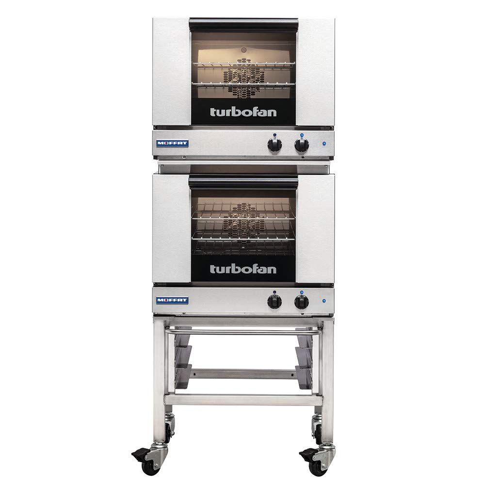 Moffat E22M3/2C Turbofan Electric Double Stacked Convection Oven, (3) 1/2 Size Sheet Pan Capacity (Each Oven) With Casters