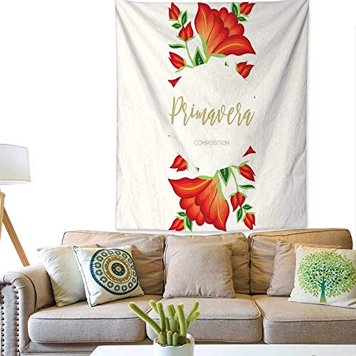 BlountDecor Pattern Tapestry Primavera (Spring in Spanish) Floral Composition – Copy Space 70W x 93L INCH