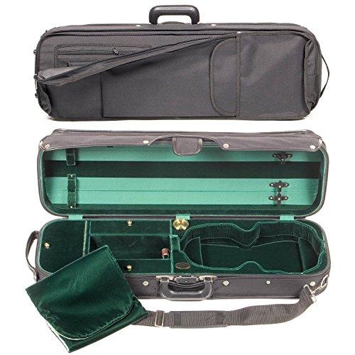 Bobelock Hill Style 1017 Semi-French Fitted Black/Green 4/4 Violin Case (Bobelock Fiberglass Violin Case)