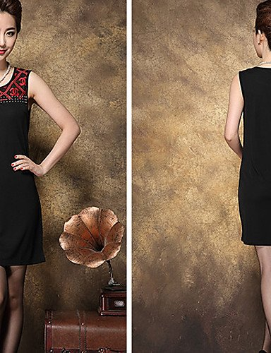 Au Black Sexy Du Lyq 4xl Spandex Grandes Femmes Genou Soirée Robe Tailles Aux Dessus qwq0f74