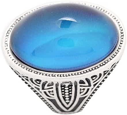 Mojo Handmade Polished Antique Sterling Silver Plating Oval Stone Color Change Mood Ring MJ-RS058