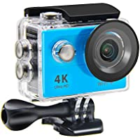 Action Camera NTSE Ultra HD 4K WiFi Sport Camera 1080P/60fps 2.0 LCD 170D Lens Helmet Cam Go Waterproof Pro Camera 30m Waterproof Cameras( Blue)