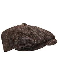 Universal Textiles Mens Wool Blend Herringbone 8 Panel Newsboy Cap