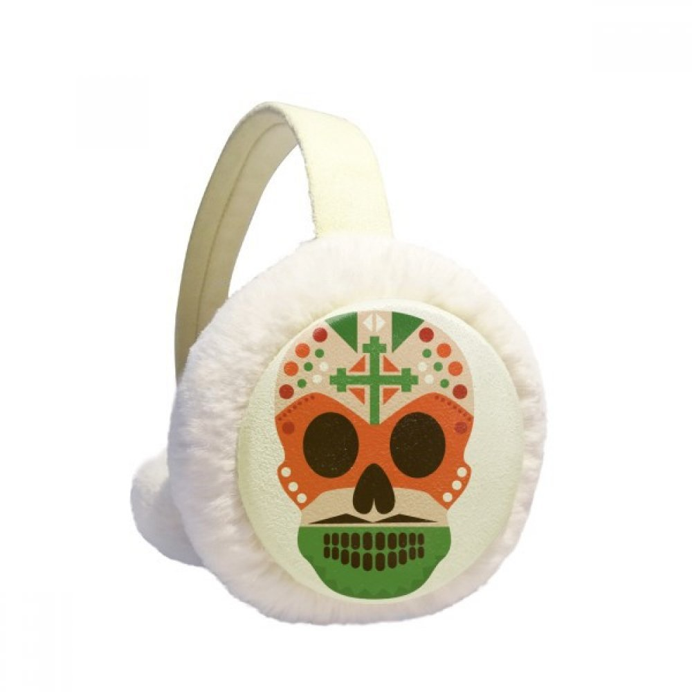 Skull Cross Mexico Culture Flag Color Illustration Winter Earmuffs Ear Warmers Faux Fur Foldable Plush Outdoor Unisex Gift