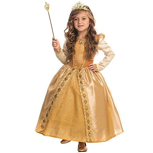 Golden Girl Costumes (Majestic Golden Princess Costume for Girls By Dress Up America - Size Small 4-6)