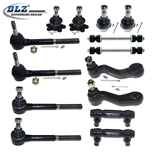 DLZ 14 Pcs Front Suspension Kit-2 Upper 2 Lower Ball Joint 2 Inner 2 Outer Tie Rod End 2 Adjusting Sleeve 2 Sway Bar 1 Pitman Arm 1 Idler Arm for 4WD 1995-1999 Chevrolet K1500 K2500 Tahoe Yukon