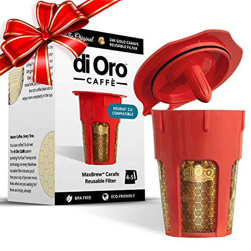 MaxBrew 24K Gold Reusable K-Carafe Filter for Keurig 2.0 - K-Cup Reusable 4-5 Cup Carafe Filter for Keurig 2.0 (Carafe Refillable Filters compare prices)