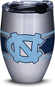 Tervis North Carolina Tar Heels Stripes Stainless Steel Insulated Tumbler with Clear and Black Hammer Lid, 12oz, Silver