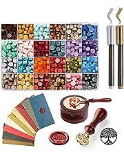 TWSOUL Wax Seal Stamp Kit, 645pcs Wax Seal Kit with Wax Sealing Beads, 12 Vintage Envelopes, Sealing Wax Warmer and 2 Metallic Pen for Stamp Seals Letter Sealing, Crafts