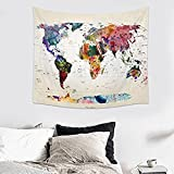Retro Watercolor World Map Tapestry Abstract Painting Wall Hanging Home Decor Art (6, 59Wx51L)
