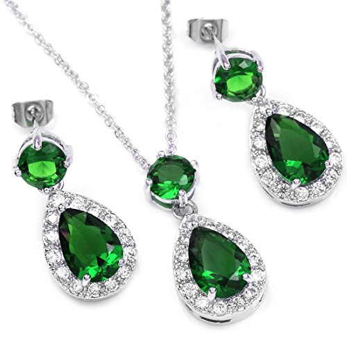 FC JORY White Gold Plated Emerald Green Color Crystal Teardrop Bridal Necklace Earrings Jewelry - Earrings Necklace Teardrop Crystal