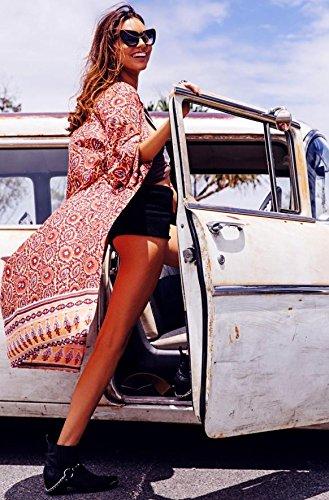 Vogue(ボーグ) ボヘミアンビーチドレス シフォンビーチカバーアップ 幾何学模様 カバーアップ リゾートウェア ビーチウェア パレオ bohemian カラフル チュニック カーディガン ボヘミアン エスニック柄 アフリカン柄
