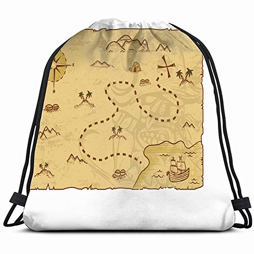 - Pirate Map Concept Editable Eps 10 The Arts Drawstring Backpack Sports Gym Bag For Women Men Children Large Size With Zipper And Water Bottle Mesh Pockets