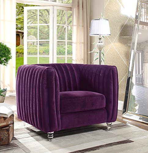 Iconic Home Kent Elegant Velvet Modern Contemporary Plush Cushion Seat Round Acrylic Feet Club Chair, Purple Review