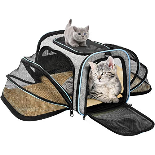 OMORC Pet Carrier, Expandable Pet Travel Bag Airplane Approved Portable Dog Carrier Cat Carrier Spacious & Stable with Dual Side Inner Pad and Breathable Mesh, Foldable for Easy Storage