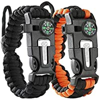 ATOMIC BEAR Paracord Bracelet (2 Pack) – Adjustable Size...