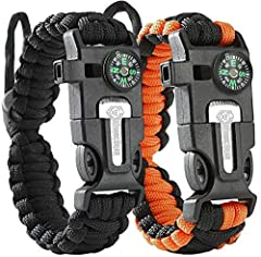 Paracord Bracelet (2 pack) – Adjustable Size – Fire Starter – Loud Whistle – Emergency Knife – Perfect for Hiking, Camping, Fishing and Hunting – Black & Black+Orange