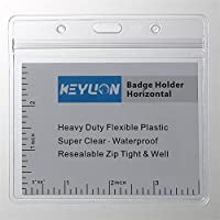 feddc8e7ef0a KEYLION 10 Pack Large Horizontal Name Tag Badge ID Card Holder, Heavy Duty  Clear Plastic Cover Sleeve Pouch with Waterproof Type Resealable Zip, Fits  ...