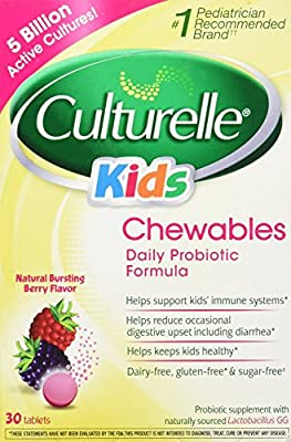 Culturelle Kids! Chewables Probiotic, For Kids 50-100lbs, Tablets, Berry, 30 ea Pack of 2