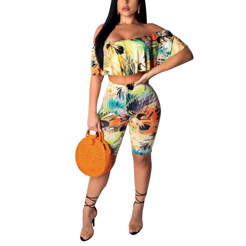 kaimimei Women's Ruffle Floral Romper Sets Off Shoulder Crop Top Short Pant Two Piece Outfits Clubwear Yellow S by kaimimei