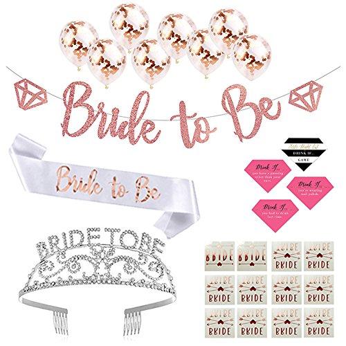 Bachelorette Party Supplies Rose Gold Kit - Bride