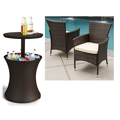 Keter 7.5-Gal Cool Bar Rattan Style Outdoor Patio Pool Cooler Table, Brown with Outdoor Wicker Dining Chair with Cushion (Set of 2))