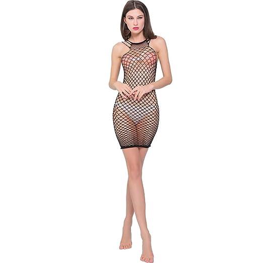 8694bd51fd YFancy Womens Transparent Mesh Bodystockings Perspective Sexy Solid  Underwear Dress Openwork mesh Skirt Black