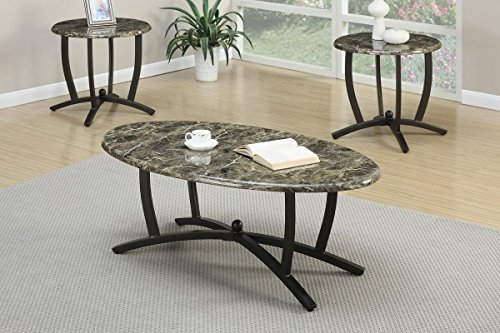Poundex 3 Piece Table Set with Faux Marble Countertops and Black Metal Base