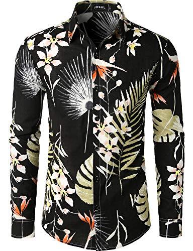 JOGAL Men's Flower Casual Button Down Short Sleeve Hawaiian Shirt XX-Large A334L Black ()