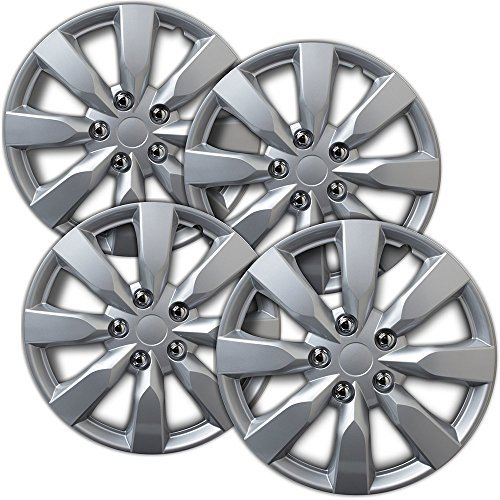 OxGord Hubcaps for 16 inch Standard Steel Wheels (Pack of 4) Wheel Covers - Snap On, Silver 1997 Mitsubishi Eclipse Wheel