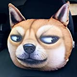 3D Cartoon Animal Car Pillow Car Headrest Travel Pillow Decorative Pillow Headrest Neck Cute Emoji Pillows For Home Office (Huang xiaojian)