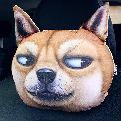 3D Cartoon Animal Car Pillow Car Headrest Travel Pillow Decorative Pillow Headrest Neck Cute Emoji Pillows For Home Office (Huang xiaojian) by YWLL