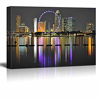 Canvas Prints Wall Art - Cityscape with Ferris Wheel and Light Reflection on The Water, by Night, at Marina Bay, Singapore - 16