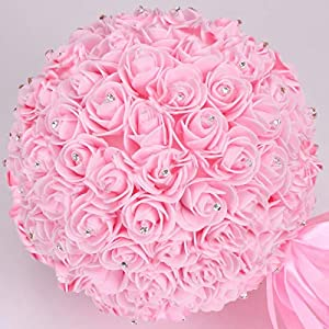 Fuzeng International 10 inch Large Size Artificial Flower Ball with Diamond Kissing Balls Bouquet for Home Garden Party Wedding Decoration 9