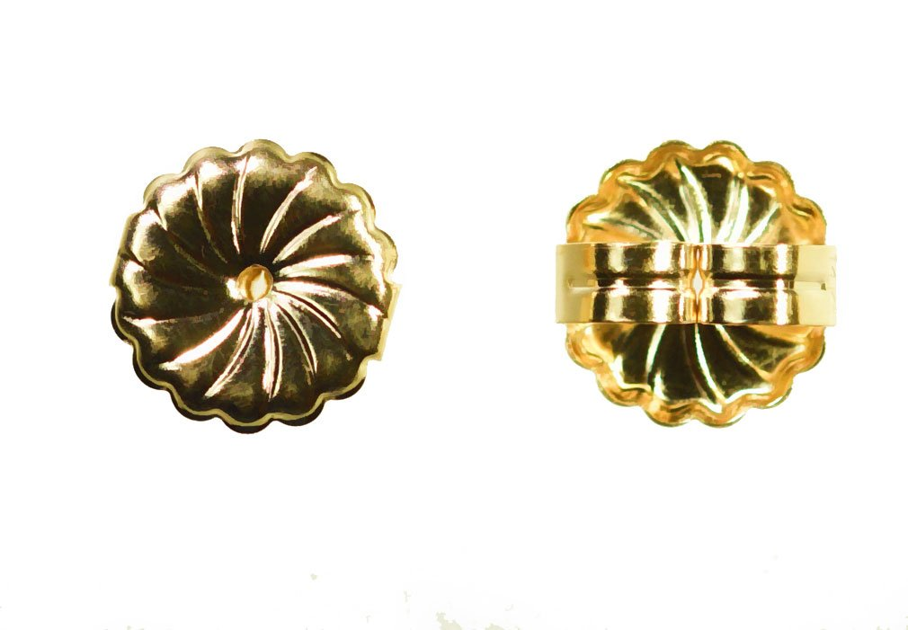 Solid 14K Yellow Gold Earring Backs Jumbo Premium Swirl 9mm (1 Pair) by uGems (Image #3)