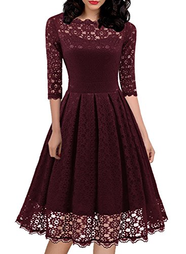 (Women's 1950s Vintage Lace Floral Knee-Length Cocktail Party Casual Swing Dress 595 S Burgundy)
