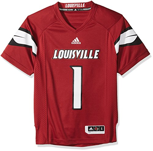 NCAA Louisville Cardinals Adult Men Premier Football Jersey, Small, Black by adidas