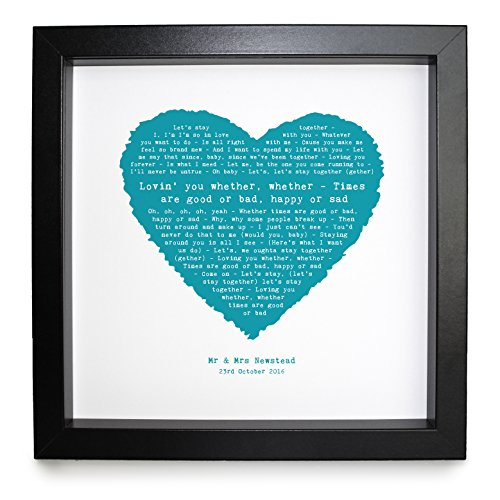 Framed Together (Al Green, Let's Stay Together, Personalised Framed Print Heart - Ideal Wedding Anniversary Personalized Romantic Gift)