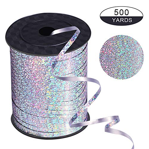 xixi party 500 Yards Silver Shiny Balloon Ribbons for Parties, Florist,Crafts and Gift Wrapping. -